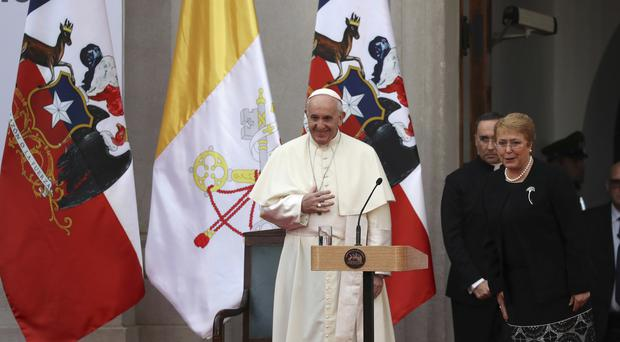 Pope Francis and Chile's president Michelle Bachelet (AP)