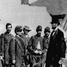 Abraham Lincoln, who led the opposition to slavery, talking to officers during the US Civil War (PA)