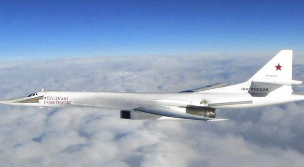 A Russian Tu-160 bomber photographed by the RAF (RAF/PA)
