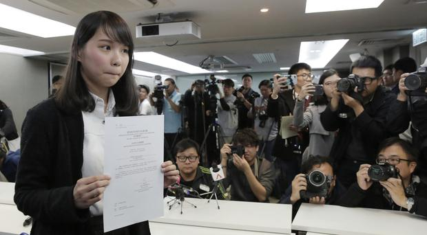 Agnes Chow, 21, a member of democracy Demosisto party (Kim Cheung/AP)