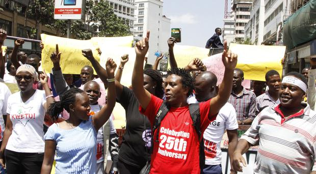 Kenya civil rights groups protest on the streets of Nairobi (AP)