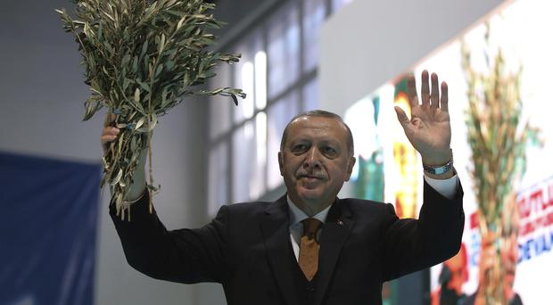 Recep Tayyip Erdogan holds olive branches as he addresses his party members (AP)