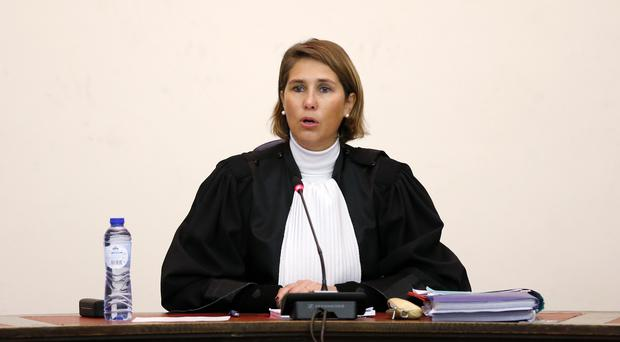 Judge Marie-France Keutgen presides over the second day of the trial of Salah Abdeslam and Soufiane Ayari (Francois Lenoir, Pool Photo via AP)