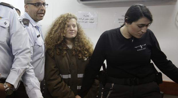 Ahed Tamimi at a previous court appearance (AP)