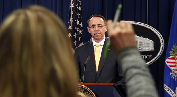 Deputy Attorney General Rod Rosenstein answers questions (Jacquelyn Martin/AP)