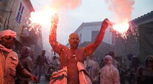 A unique colourful flour fight marking the end of the carnival season and the start of Lent, in the Greek port town of Galaxidi (Petros Giannakouris/AP)