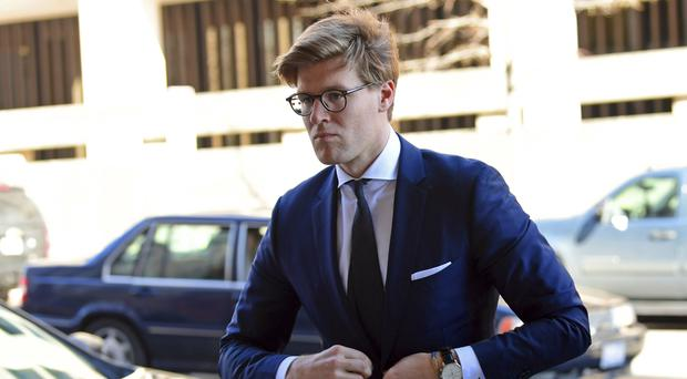 Alex van der Zwaan arrives at Federal District Court in Washington (AP Photo/Susan Walsh)