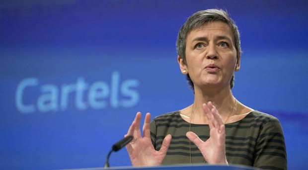 European Commissioner for Competition Margrethe Vestager said the fines should be a warning to other companies (AP)