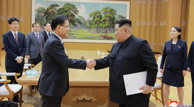 South Korean President Moon Jae-in meets Kim Jong Un (Korean Central News Agency/Korea News Service/AP)