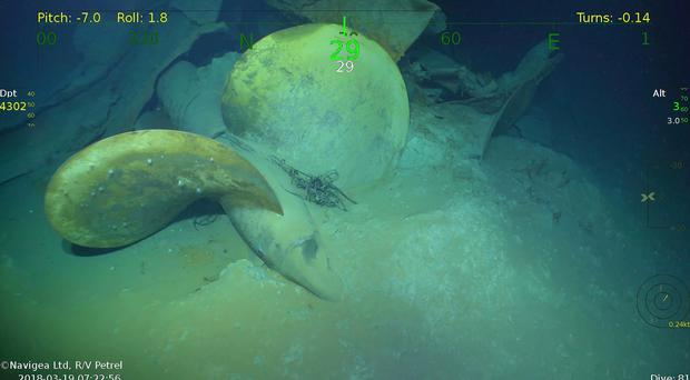 An underwater video image shows part of the wreckage from the USS Juneau (Paul Allen via AP)