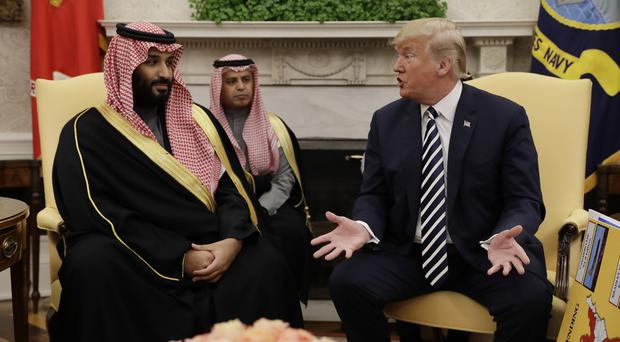 President Donald Trump meets Saudi Crown Prince Mohammed bin Salman in the Oval Office of the White House (Evan Vucci/AP)