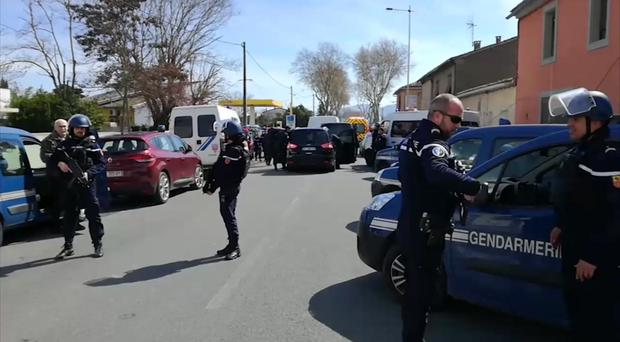 Police attend an incident in Trebes, southern France (La Depeche Du Midi via AP)