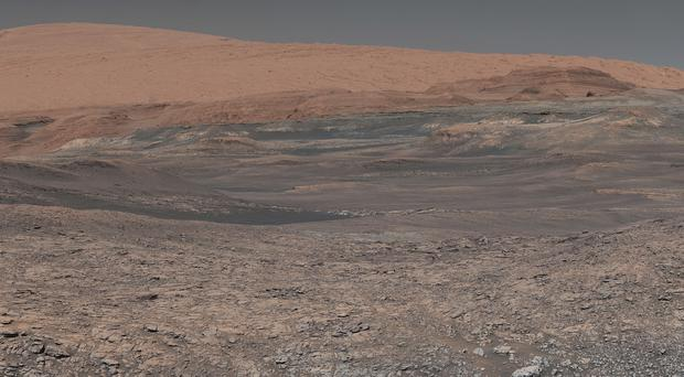 This image assembled from a series of photos made by the Mars Curiosity rover shows an uphill view of Mount Sharp (Nasa/JPL-Caltech/MSSS via AP)