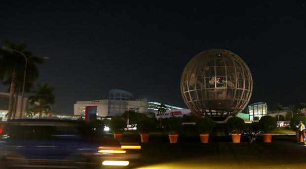 The Philippines' largest shopping mall, the Mall of Asia, turns dark to mark Earth Hour (Bullit Marquez/AP)