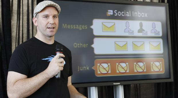 Andrew Bosworth speaking about the new Facebook messaging service in 2010 (Paul Sakuma/AP)