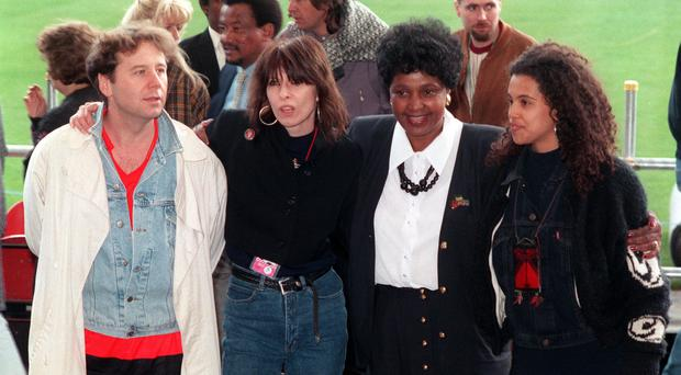 Singers Jim Kerr, Chrissy Hynde, and Neneh Cherry with Winnie Madikizela- Mandela at Wembley Stadium (PA)