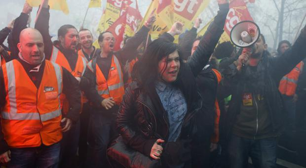 French railway workers demonstrate in Paris (Thibault Camus/AP/PA)