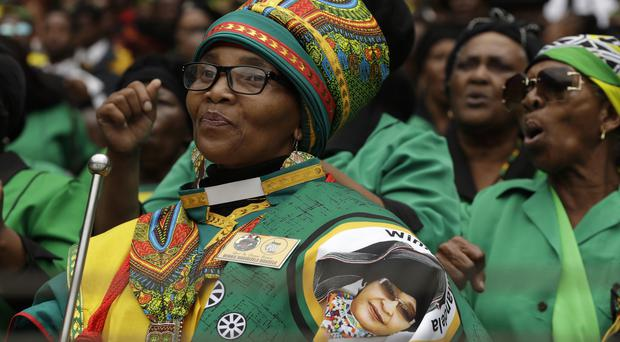 Mourners attend a memorial service for anti-apartheid activist Winnie Madikizela-Mandela in Soweto (Themba Hadebe/AP)
