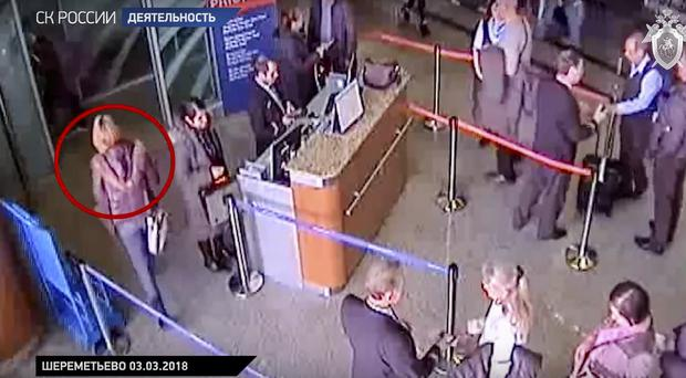 This frame grab release airport CCTV footage shows Yulia Skripal, in a red circle (AP)
