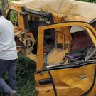 The school bus was hit by a train (AP Photo)