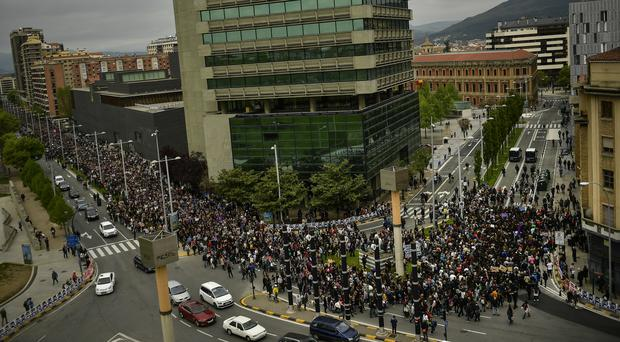Thousands of people march during a protest against sexual abuse in Pamplona, Spain (Alvaro Barrientos/AP)