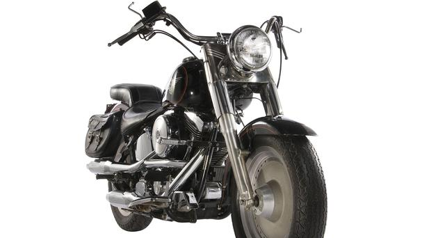 A 1991 Harley-Davidson Fat Boy motorcycle used in the film Terminator 2: Judgement Day. (Profiles in History via AP)