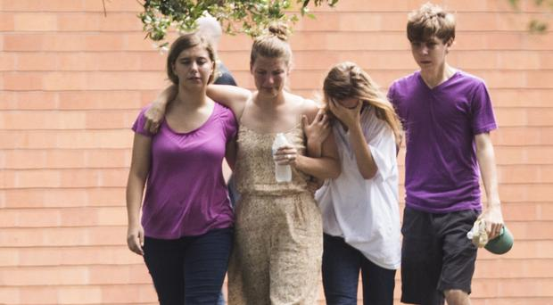 Students after a shooting at Santa Fe High School (Marie D De Jesus/Houston Chronicle via AP)