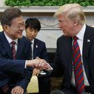 Donald Trump meets South Korean President Moon Jae-In in the White House (AP Photo/Evan Vucci)