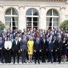 Emmanuel Macron hosts the Tech for Good summit over lunch with tech company CEOs at the Elysee Palace in Paris (Charles Platiau/Pool photo via AP)