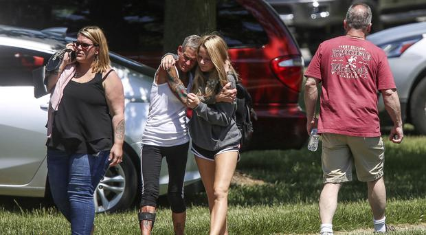 The scene near Noblesville High School after the shooting (Kelly Wilkinson/The Indianapolis Star via AP)