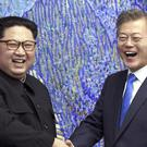 North Korean leader Kim Jong Un with South Korean President Moon Jae-in (AP)