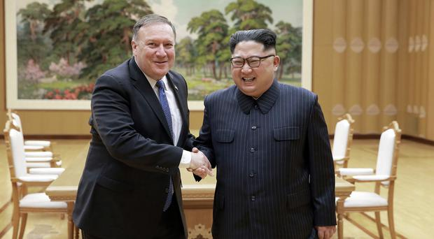 US Secretary of State Mike Pompeo shakes hands with North Korean leader Kim Jong Un (Korean Central News Agency/Korea News Service/File)