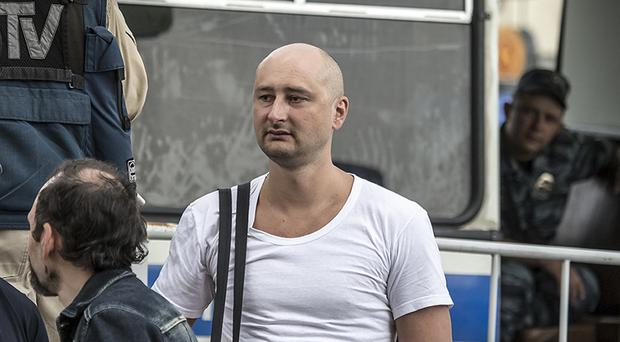 Arkady Babchenko astonished reporters at the press conference (AP)