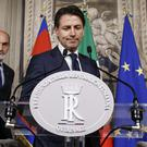 Giuseppe Conte is meeting the Italian president (Fabio Frustaci/ANSA via AP)