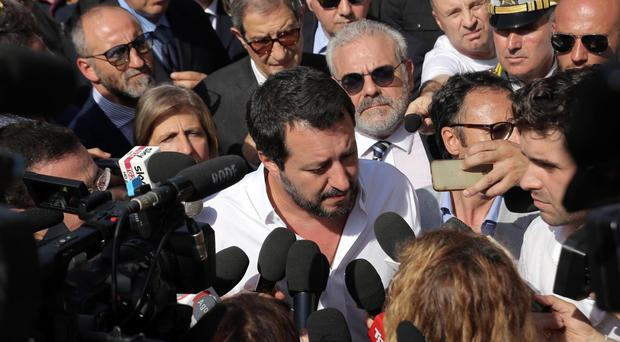 Matteo Salvini arrives to visits to a so-called 'hot spot' in the Sicilian port of Pozzallo (Andrea Scarfo/ANSA via AP)