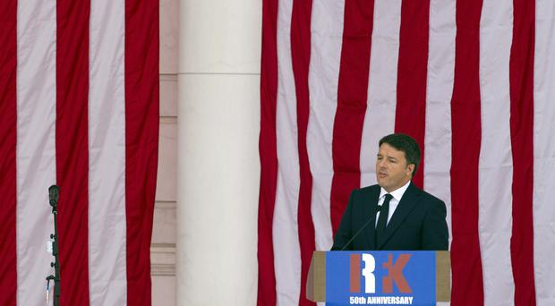 Matteo Renzi, former prime minister of Italy, speaks during the Celebration of the Life of Robert F Kennedy at Arlington National Cemetery (Cliff Owen/AP)