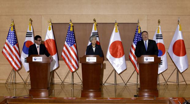 Mike Pompeo visited Seoul to brief US treaty allies Japan and South Korea (Ahn Young-joon/AP)