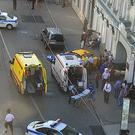 An ambulance and police work at the site of an incident after a taxi crashed into pedestrians in Moscow (Moscow Traffic Control Centre Press Service/AP/PA)