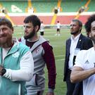 Mohamed Salah, right, and Chechnya's regional leader Ramzan Kadyrov. (AP)