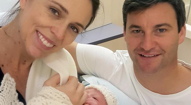 Jacinda Ardern and her partner at the Auckland City Hospital (Office of the Prime Minister of New Zealand via AP)