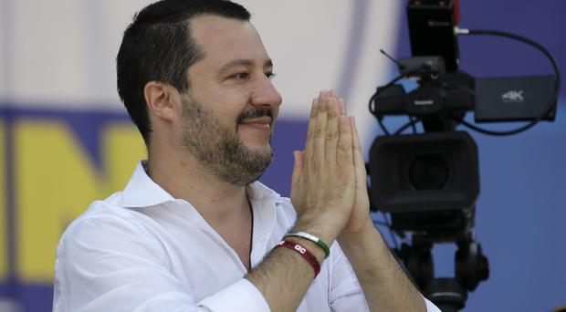 Matteo Salvini thanks his supporters during the traditional League party rally in Pontida (AP)