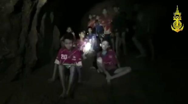The boys and their soccer coach in the cave (Thai Navy Seal via AP)