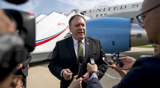 Mike Pompeo speaks to the media following two days of meetings with Kim Yong Chol, a North Korean senior ruling party official (Andrew Harnik/AP)
