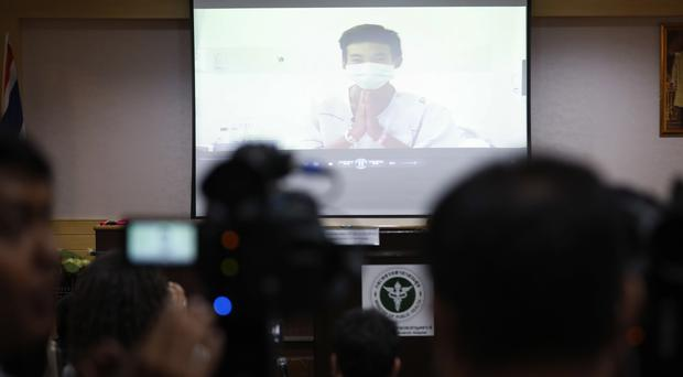 A video image shows one of the rescued boys (Vincent Thian/AP)