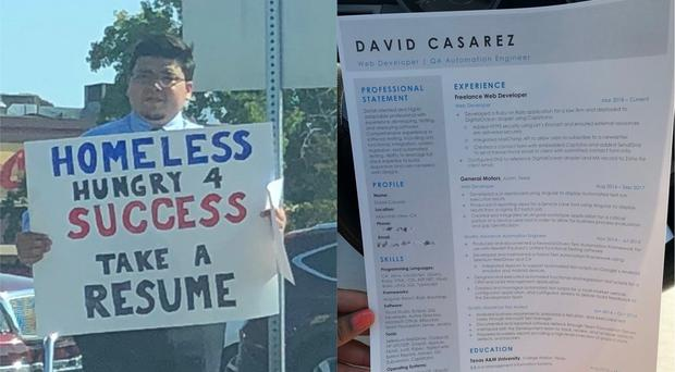 David Casarez handing out CVs, seen on the right (@jaysc0/Twitter)