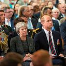 Prince William Duke of Cambridge and PM Theresa May at a service in Amiens, France to mark the centenary of the Battle of Amiens