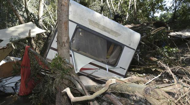 A damaged trailer is photographed after floods at Saint-Julien de Peyrolas camping site, in southern France (Jose Rocha/French Gendarmerie Nationale via AP)