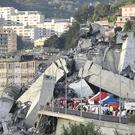 The scene of the Morandi Bridge collapse (Luca Zennaro/ANSA/AP)