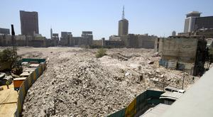 Debris is all that is left of the Maspero area in central Cairo (AP)