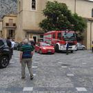 Rescue vehicles gather in Civita (Clemente Angotti/ANSA via AP)